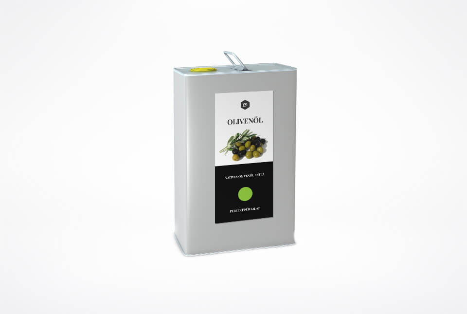 Etiketten für Olivenöl in der Dose