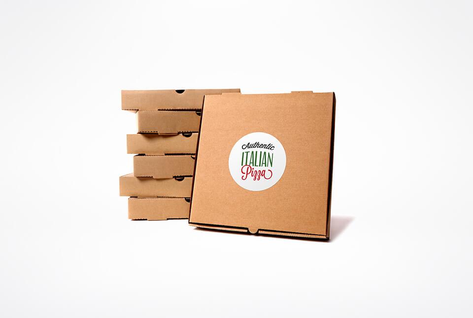 Etiketten für Pizzaboxen